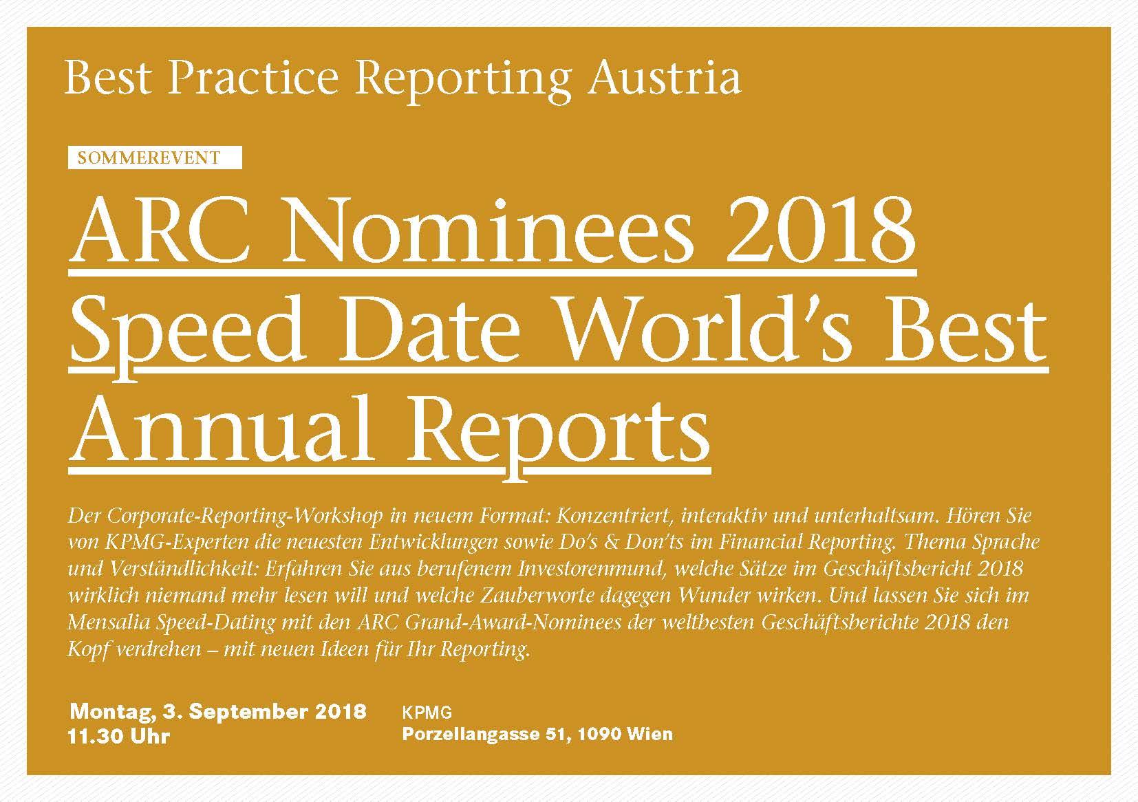 BPRA Veranstaltung ARC Nominees 2018 Speed Date World's Best Annual Reports
