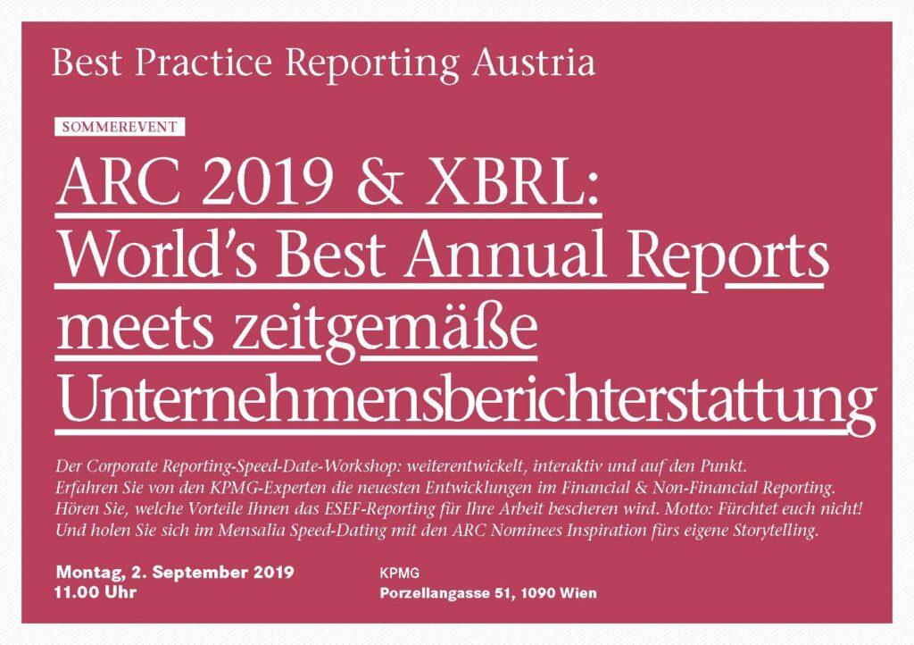 BPRA Veranstaltung   ARC 2019 & XBRL: World`s Best Annual Reports meets zeitgemäße Unternehmensberichterstattung