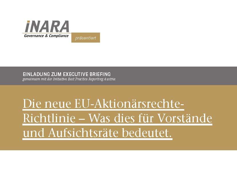 BPRA Veranstaltung Die neue EU-Aktionärsrechte- Richtlinie – Was dies für Vorstände und Aufsichtsräte bedeutet.